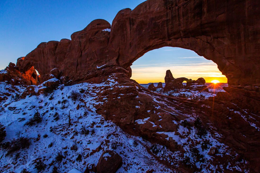 Winter Sunset Through the Windows