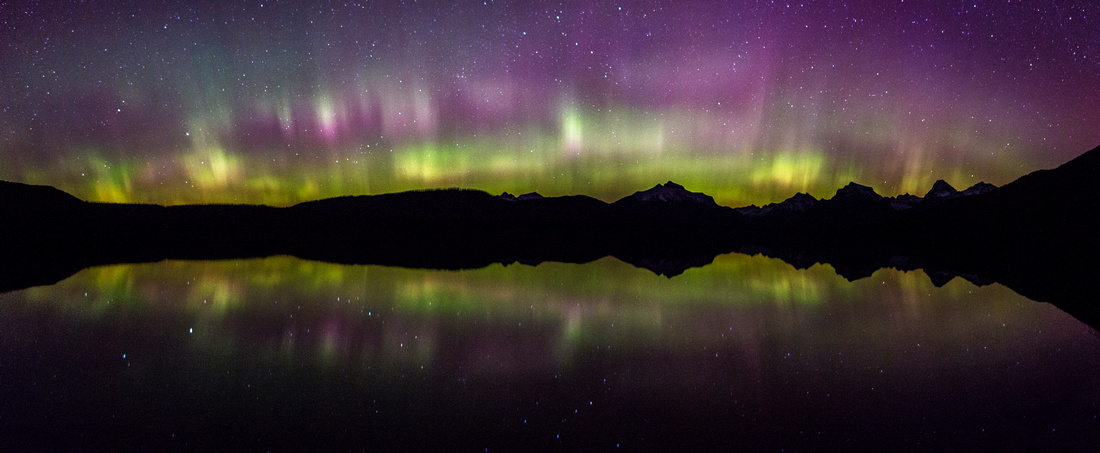 Aurora Reflections on Lake McDonald Panorama