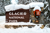 Glacier Entrance Sign in Snow