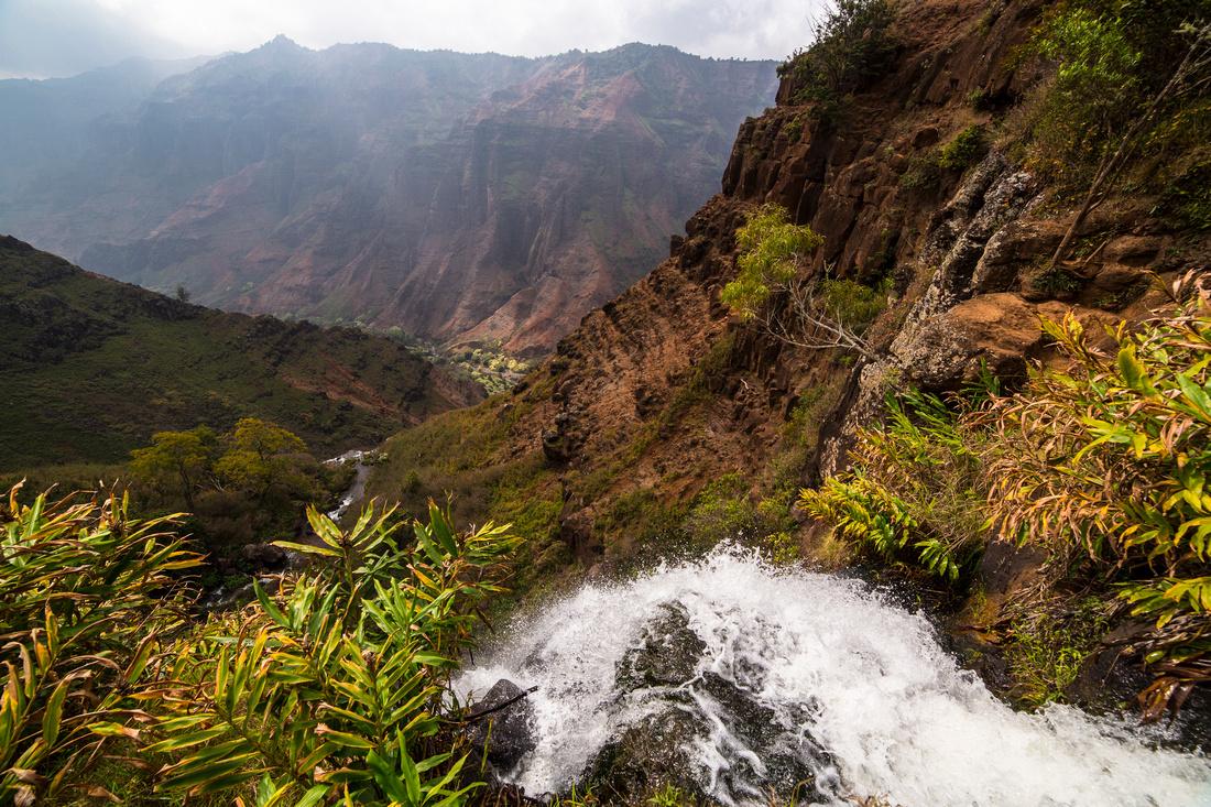 Waipo'o Falls Brink and Waimea Canyon