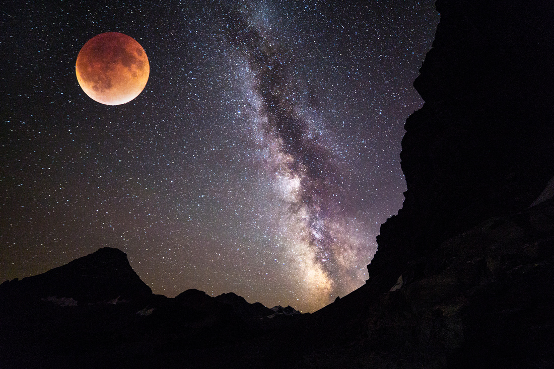 Blood Supermoon - Milky Way Double Exposure 9.27.15