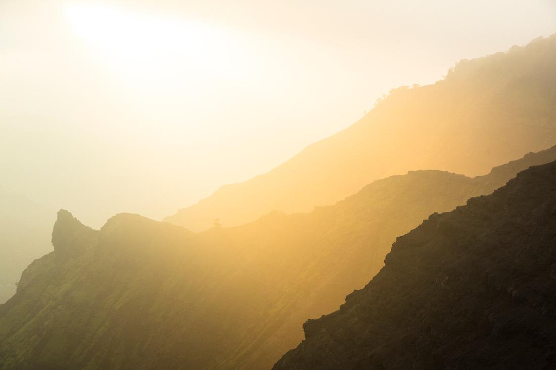 Vog Sunrise from Waimea Canyon Lookout