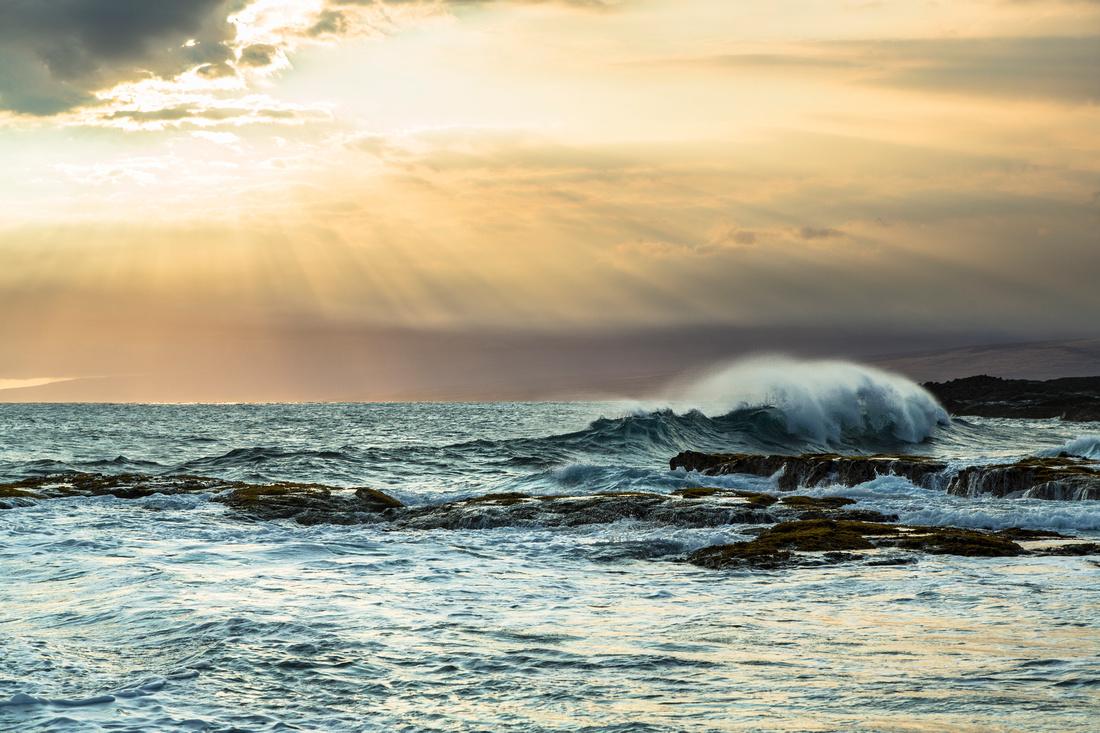 Evening Light at Apua Point Waves