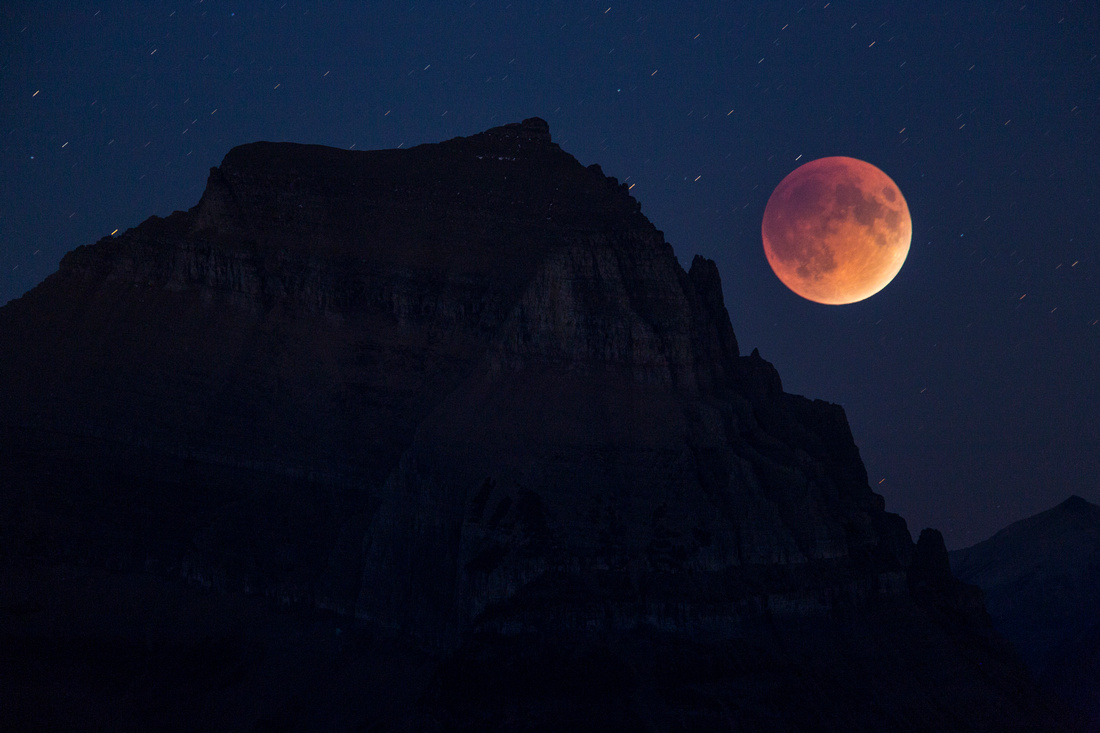 Going-to-the-Sun Mountain and Blood Moon Double-exposure