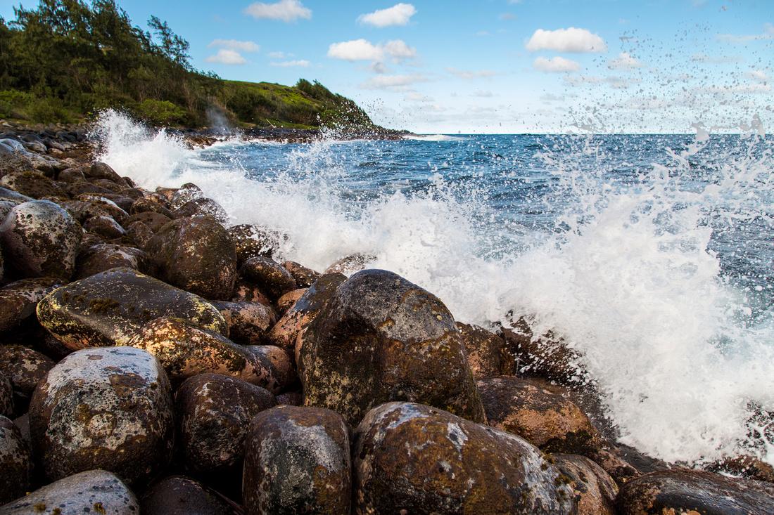 Moloa`a Beach Waves Crashing