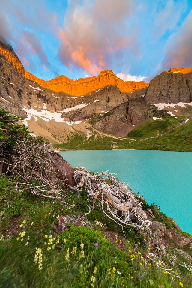 Cracker Lake at Sunrise Portrait