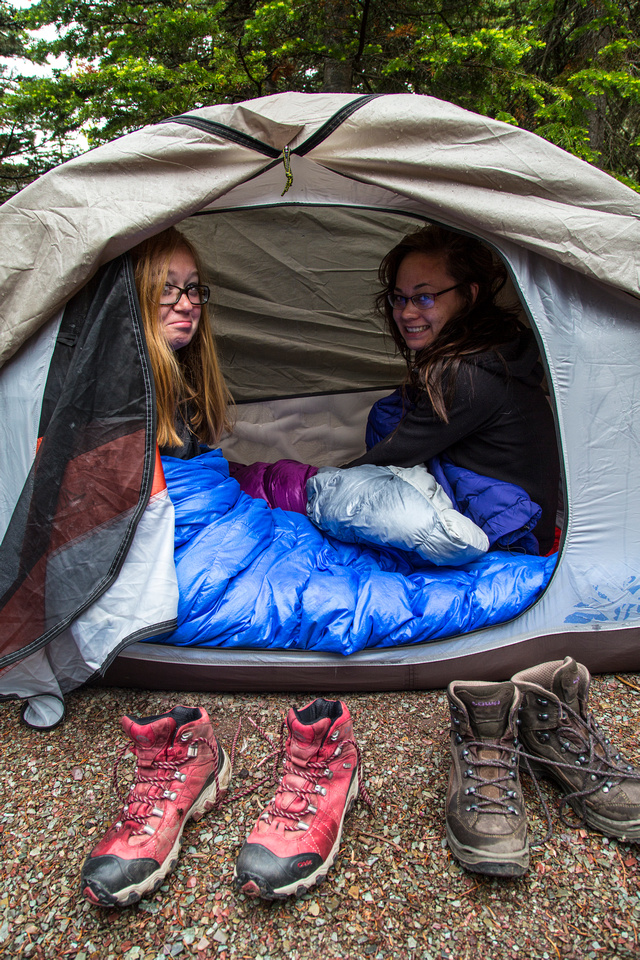 Mariah and Emily in the Tent