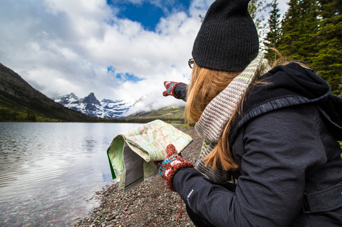 Emily Reading the Map at Cosley Lake