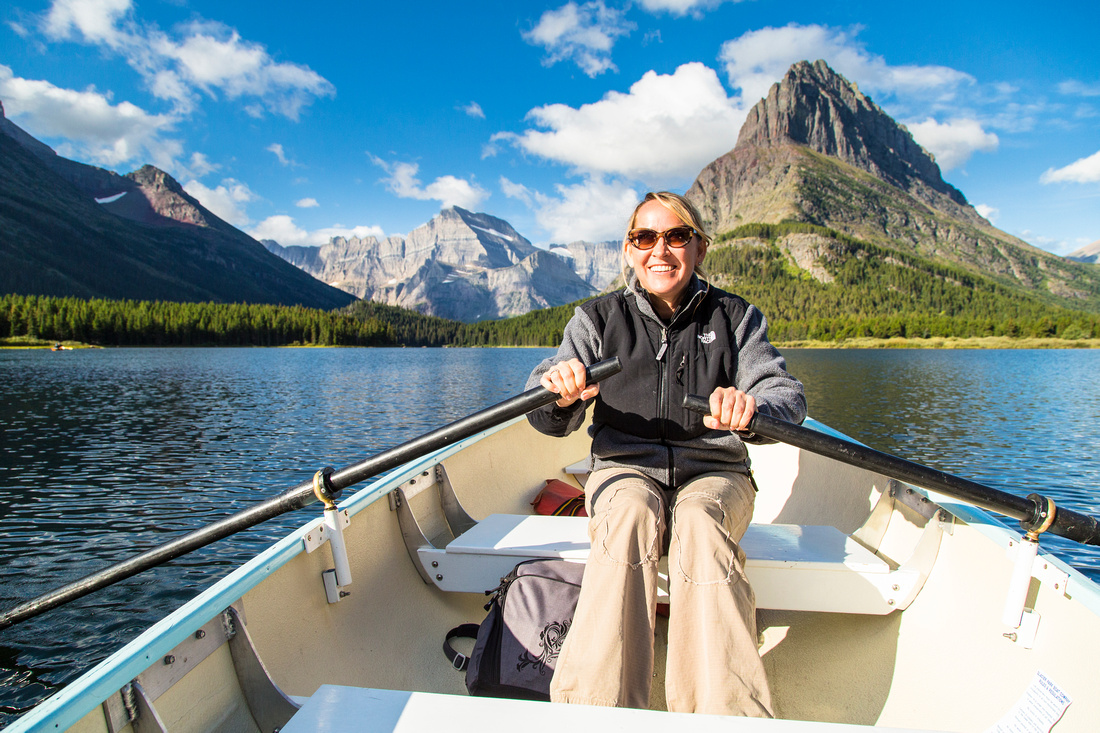 Rowing on Swiftcurrent Lake