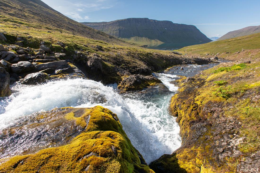 Waterfall and veiðileysufjörður