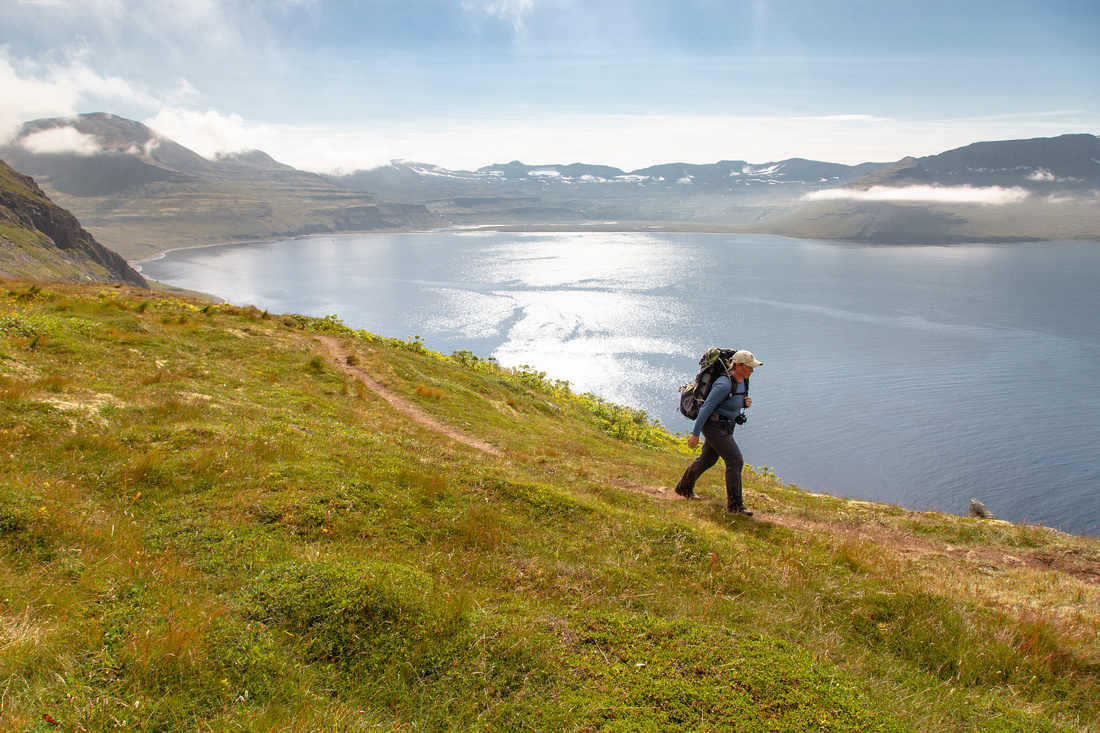 Corrie Climbing up the Horn overlooking Hornvik