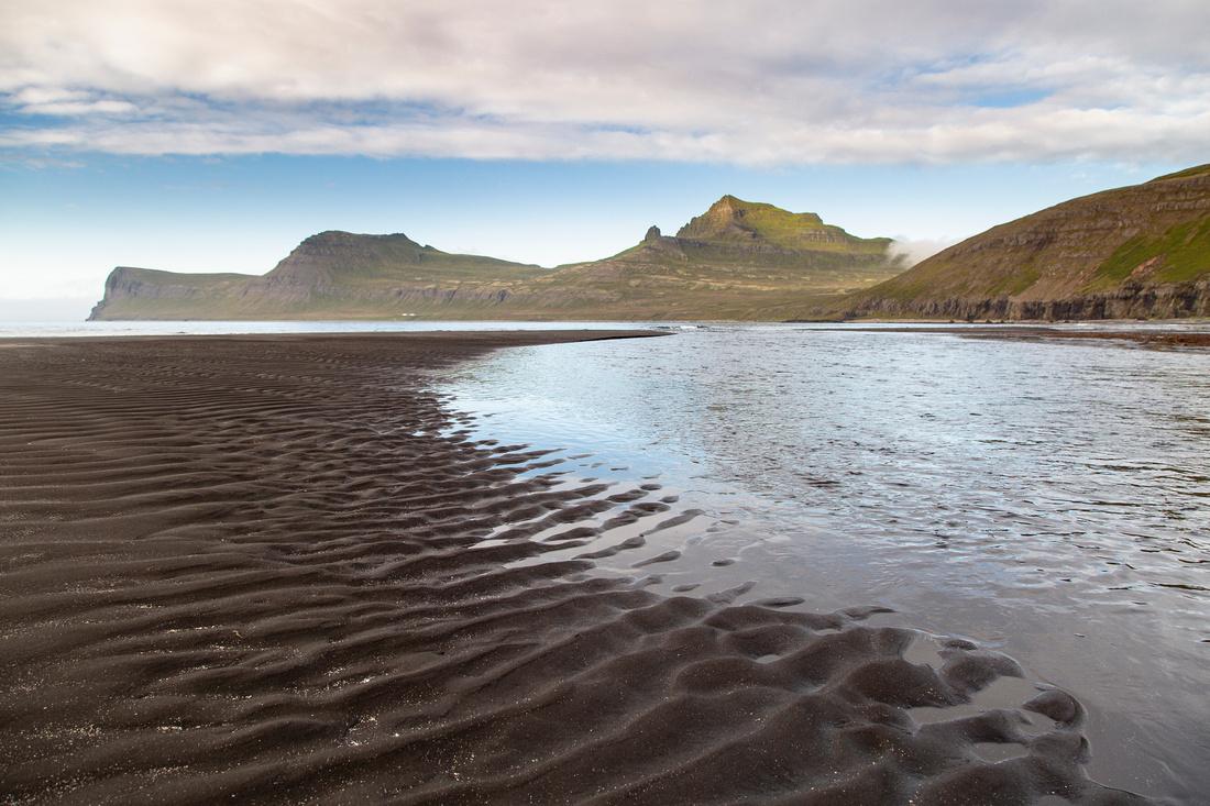 Black sand beach at Hornvik
