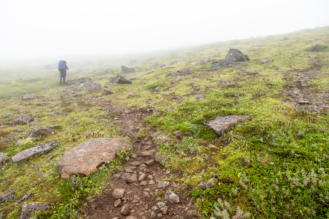 Hiking to Hloduvik in the clouds