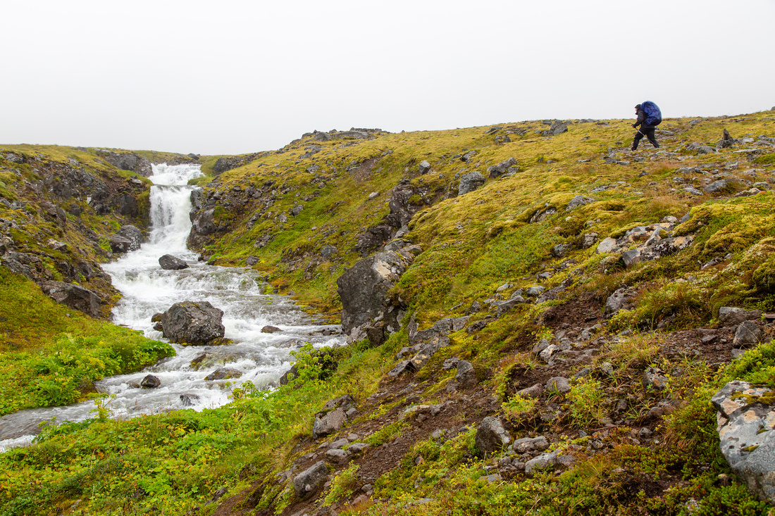 Corrie and waterfalls on the trail to Hesteyri