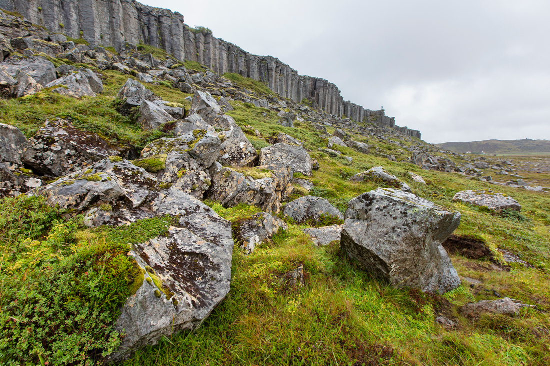 Gerðuberg basalt columns with hiker