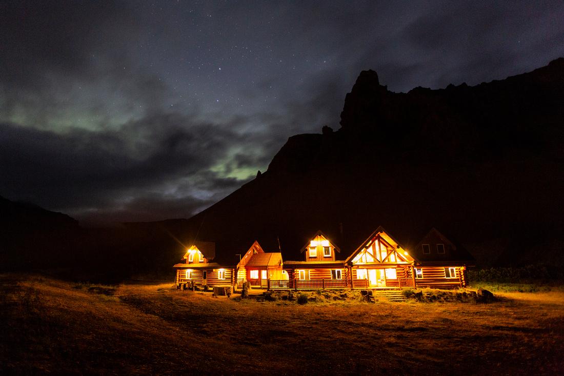 Hotel Lambafell and aurora