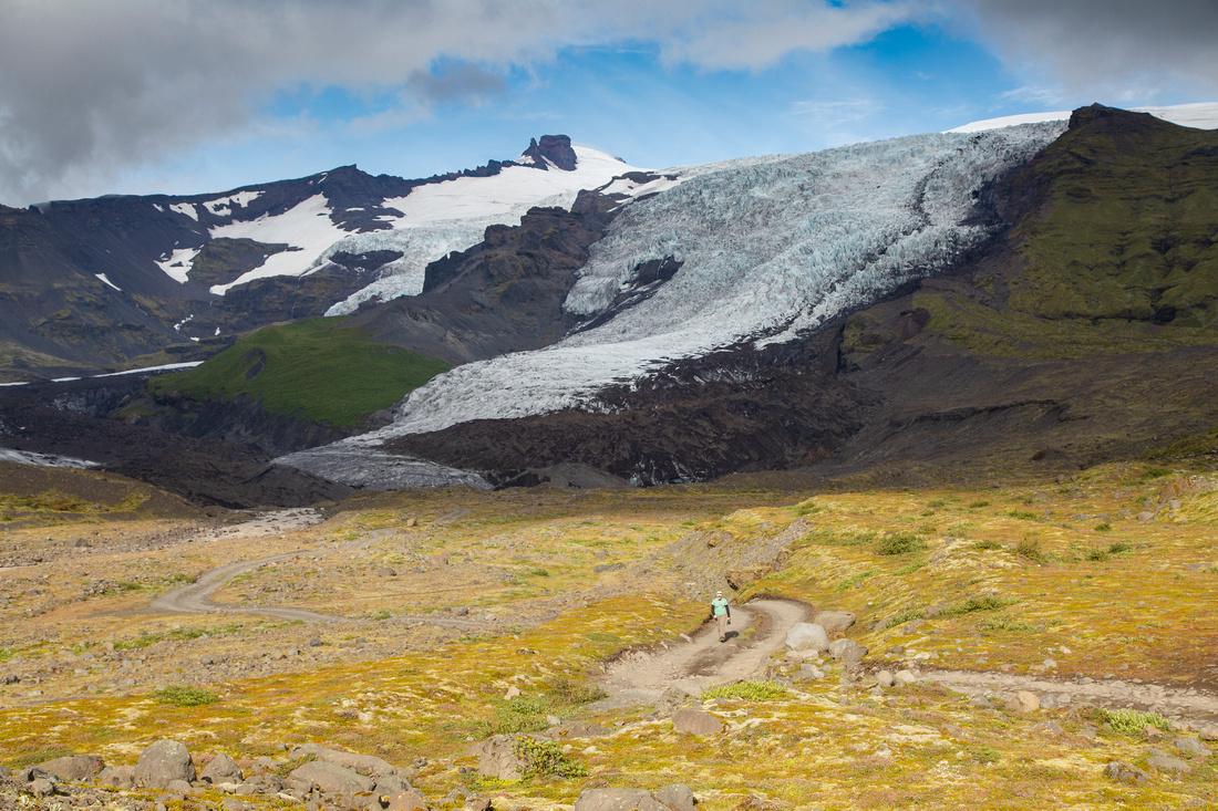 Walking a glacier tour road in Vatnajökull National Park