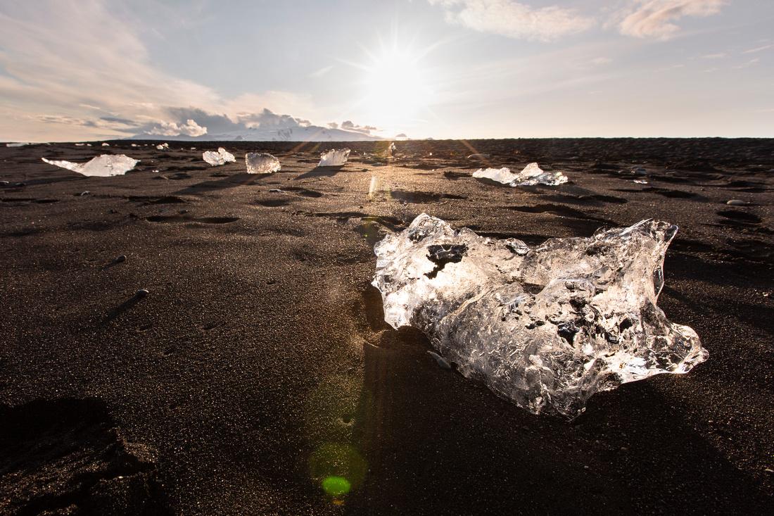 Diamond Beach icebergs and sunset