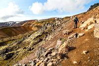 Corrie hikes out of the valley from Landmannalaugar
