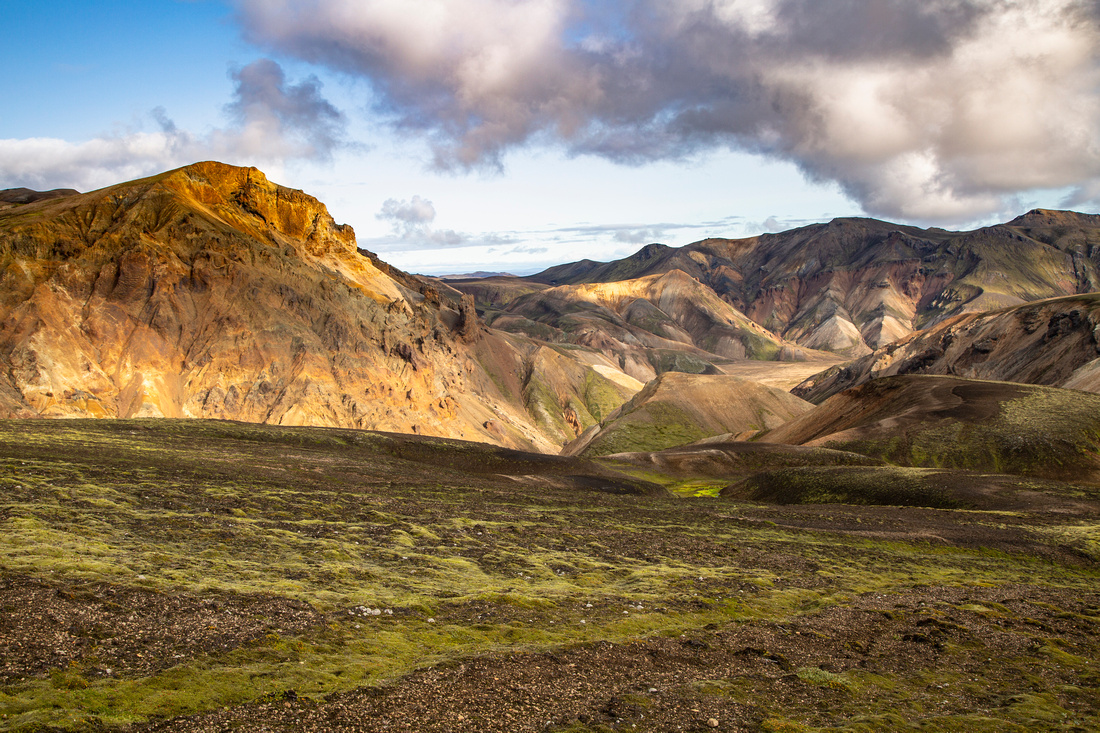 Morning light on the colorful formations of the Laugavegur Trail