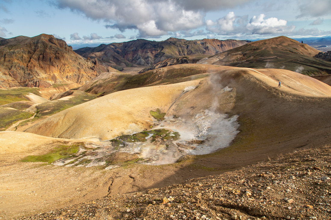 Thermal areas and mountains along the Laugavegur Trail