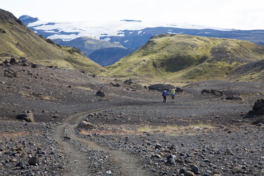 Hikers on the trail to Þórsmörk from Emstrur