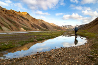 Corrie hikes to our dinner spot in Landmannalaugar