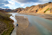 Corrie hikes back to camp in Landmannalaugar