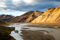Horseback ride through the river at Landmannalaugar