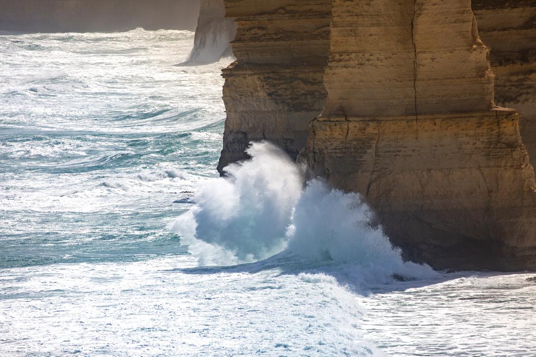 Waves crashing into the Twelve Apostles
