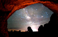 Painted Double Arch with Hazy Milky Way