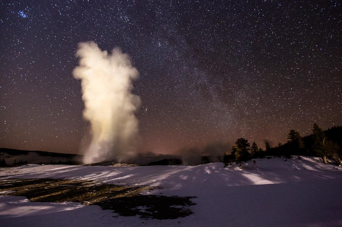 Old Faithful Under the Milky Way