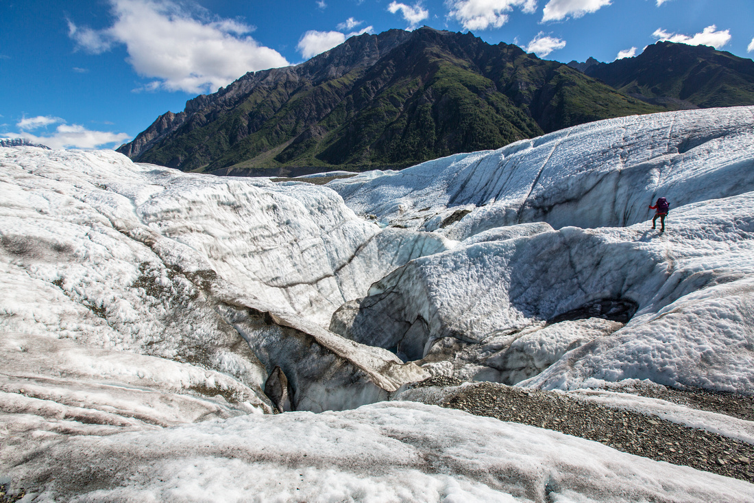 Backpackers Exploring the Root Glacier (2)