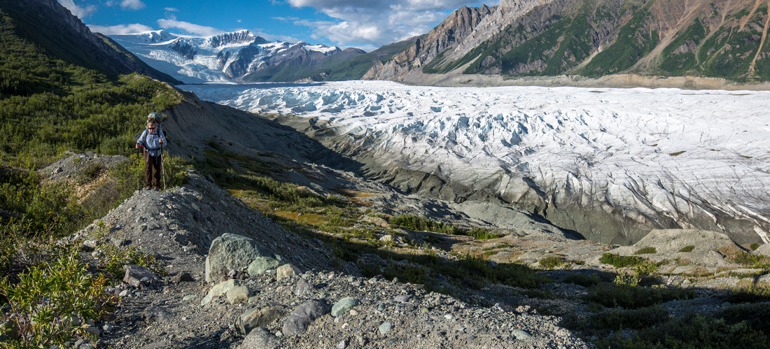 Hiking the Lateral Morain of Root Glacier