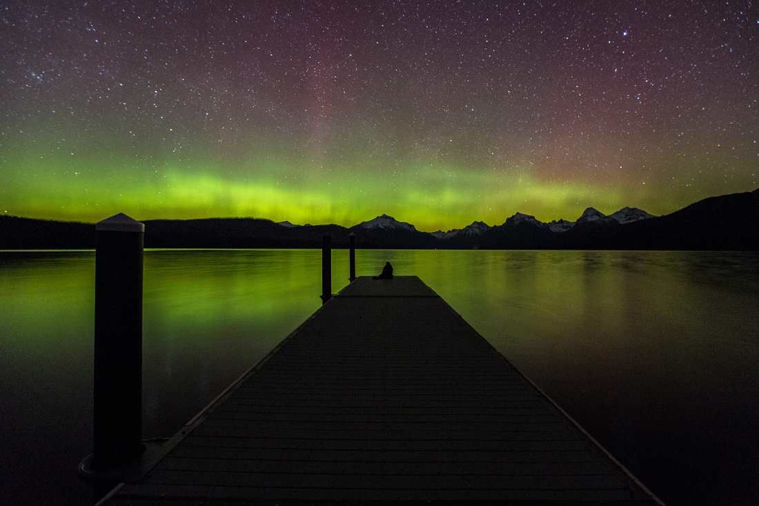 Lake McDonald Dock and Aurora