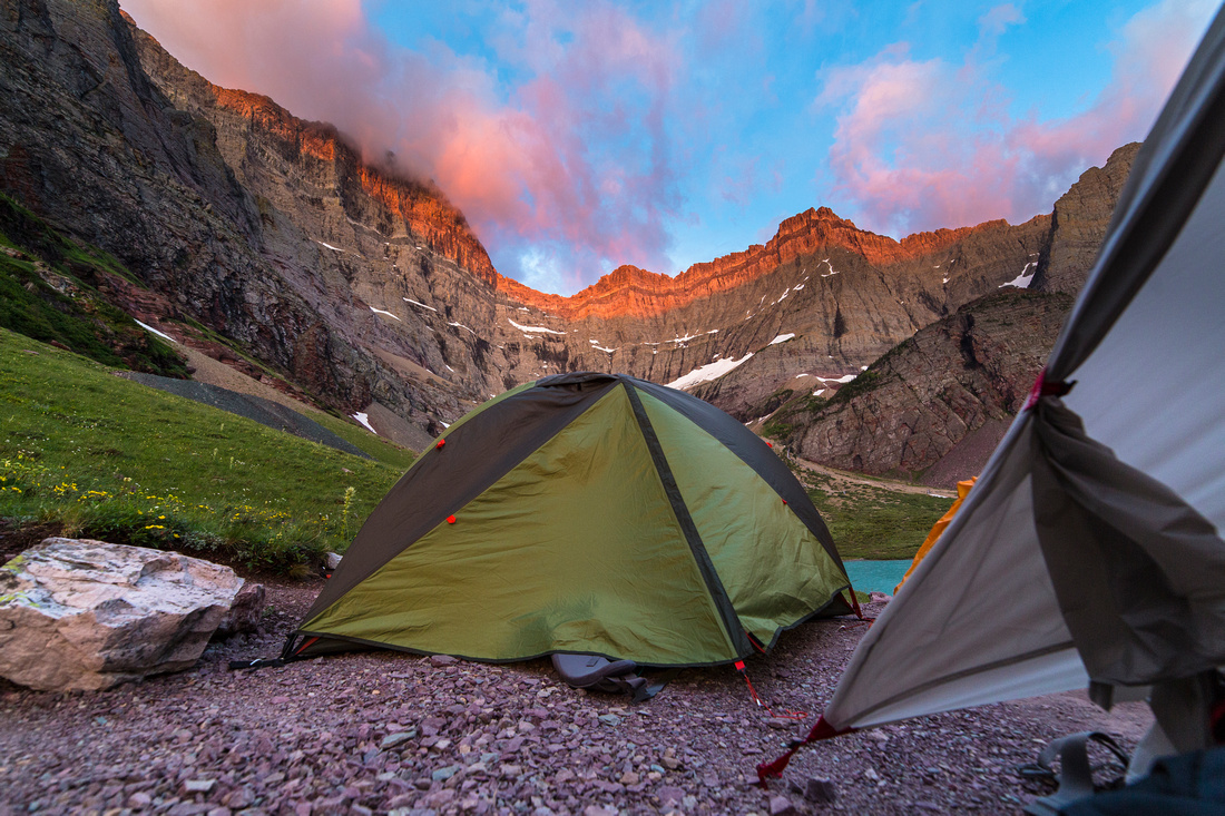 Tent view From Cracker Lake at Sunrise