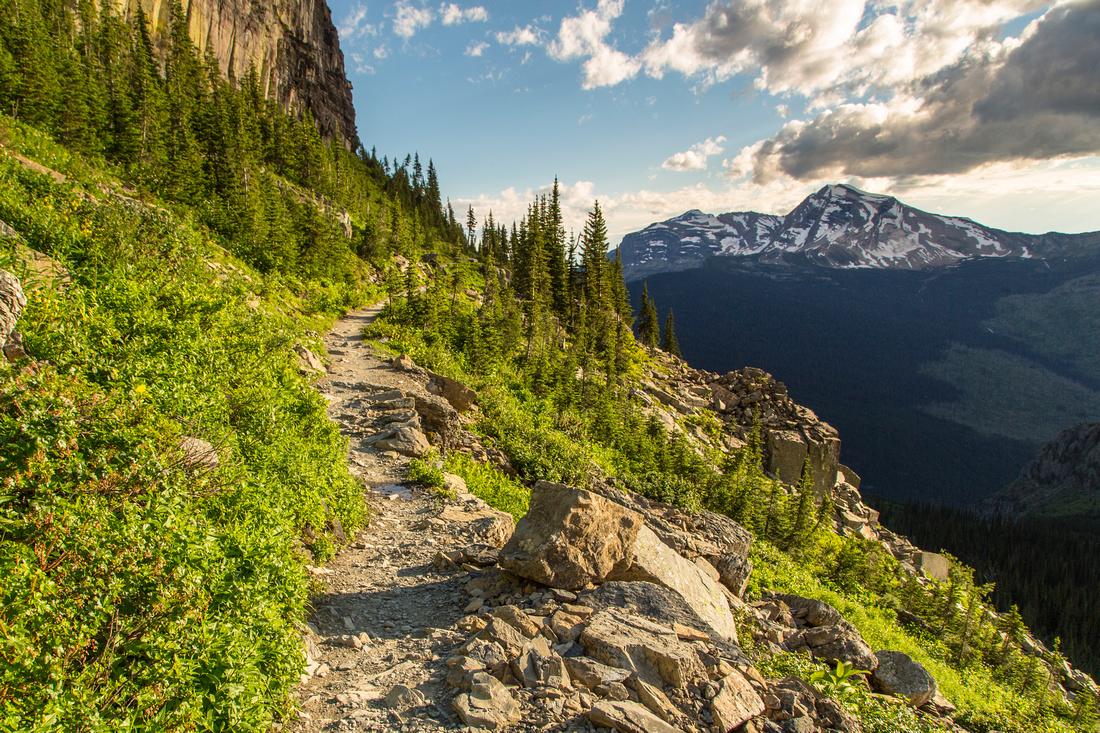 Highline Trail and Heavens Peak near Granite Park