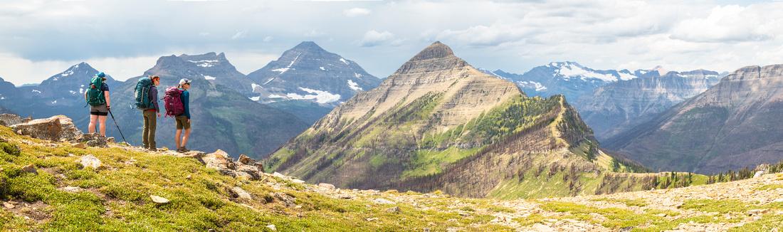 Hikers at Cutbank Pass Panorama