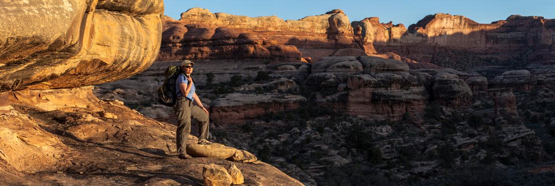 Hiker Sunset Panorama
