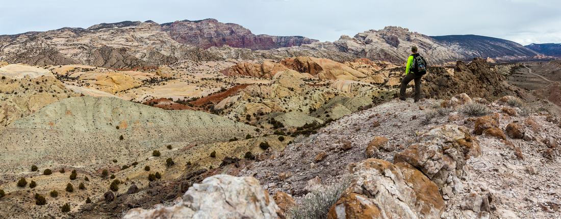 Hiker and Split Mountain Panorama