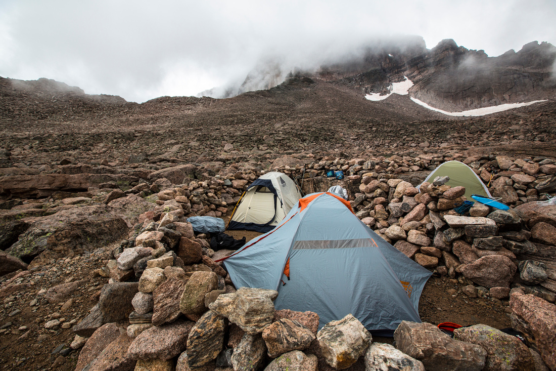 Cloudy Camp spot in the Boulderfield