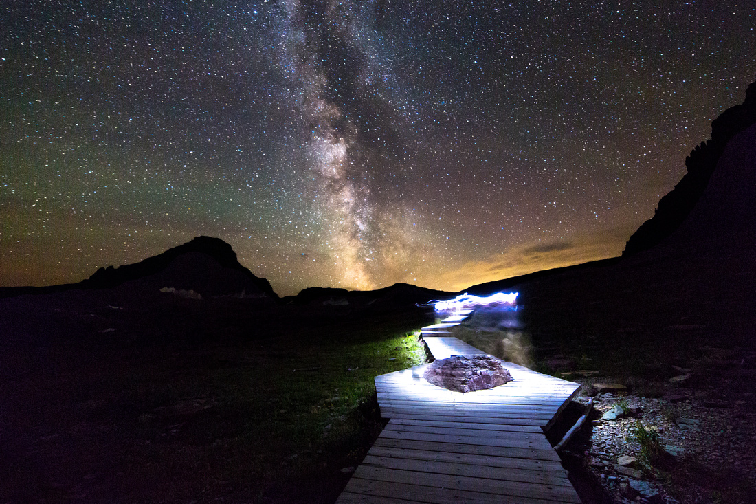 Hiker Under Milky Way