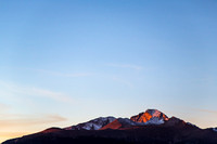 Sunrise on Longs Peak with Blue Sky