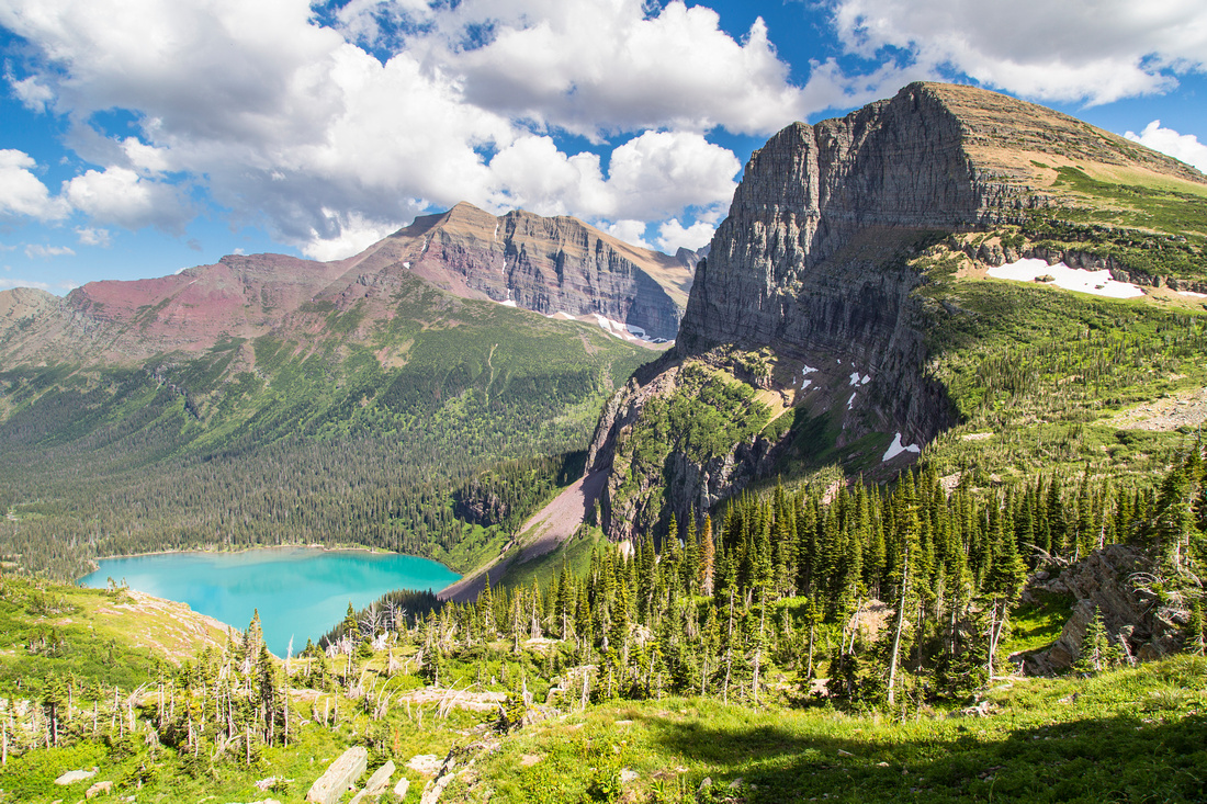 Grinnell Lake, Allen Mountain, and Angel Wing