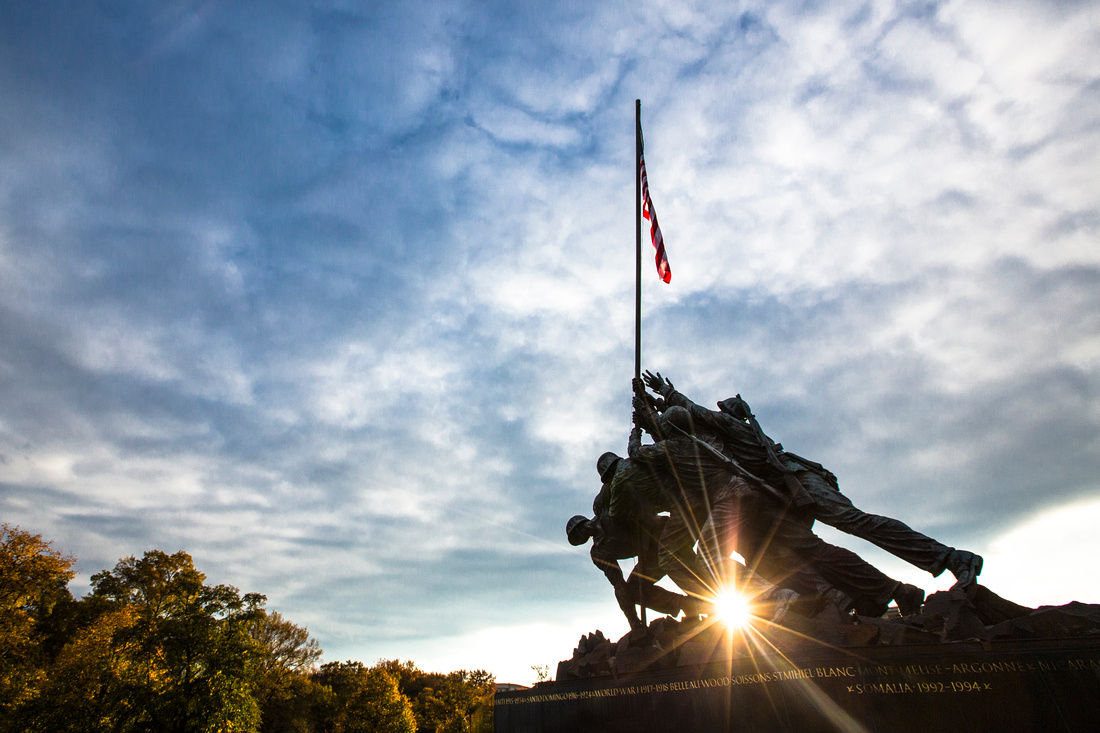 Sunset at Marine Corps War Memorial