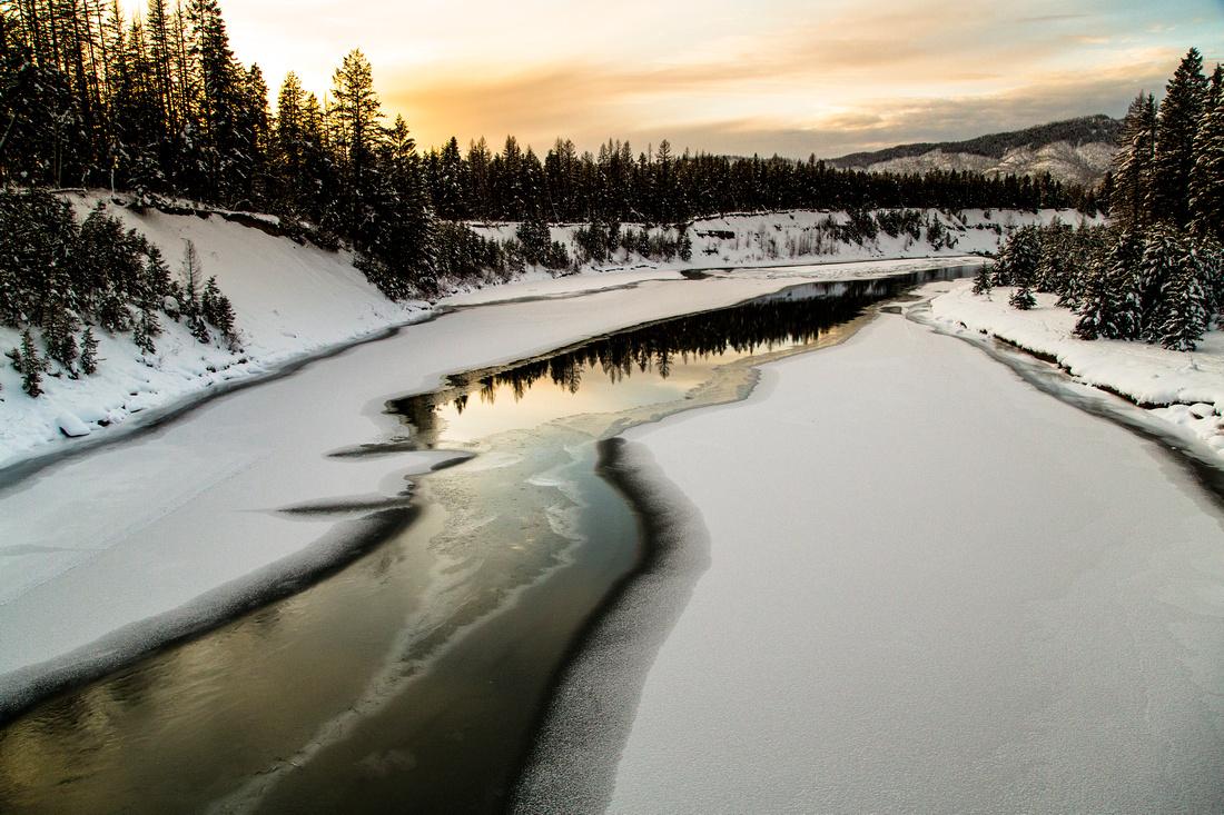 Middle Fork Sunset from West Glacier Bridge